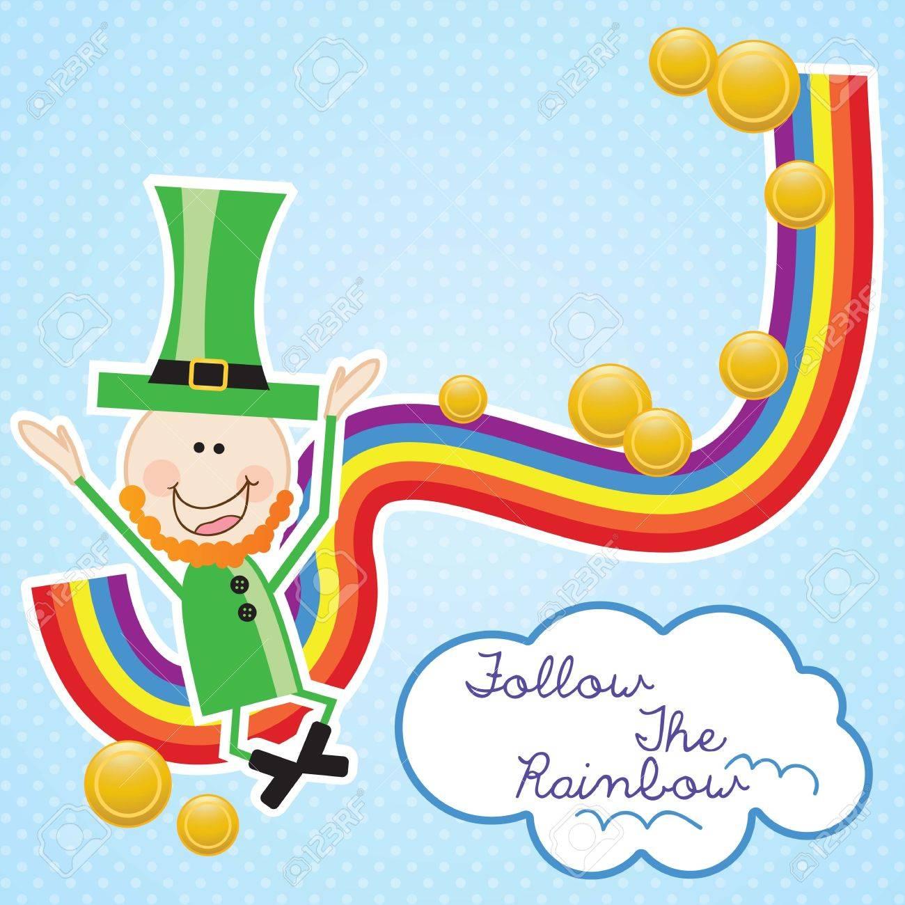 Lucky elf (hat and rainbow) Follow the rainbow. Vector illustration Stock Vector - 17734282