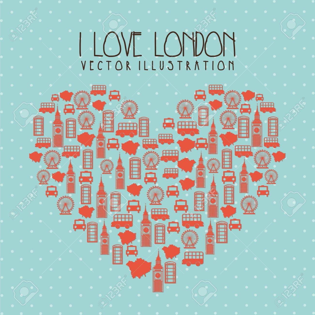 i love london illustration over blue background. vector Stock Vector - 17784481