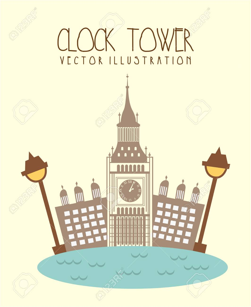 london city with big ben and river. vector illustration Stock Vector - 17784348