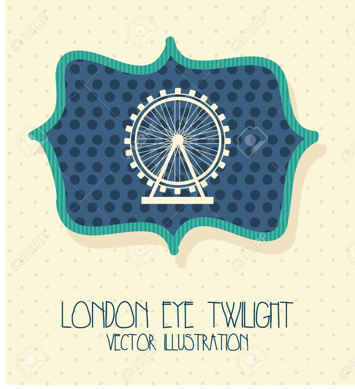 london city with eye twilight label. vector illustration Stock Vector - 17784400