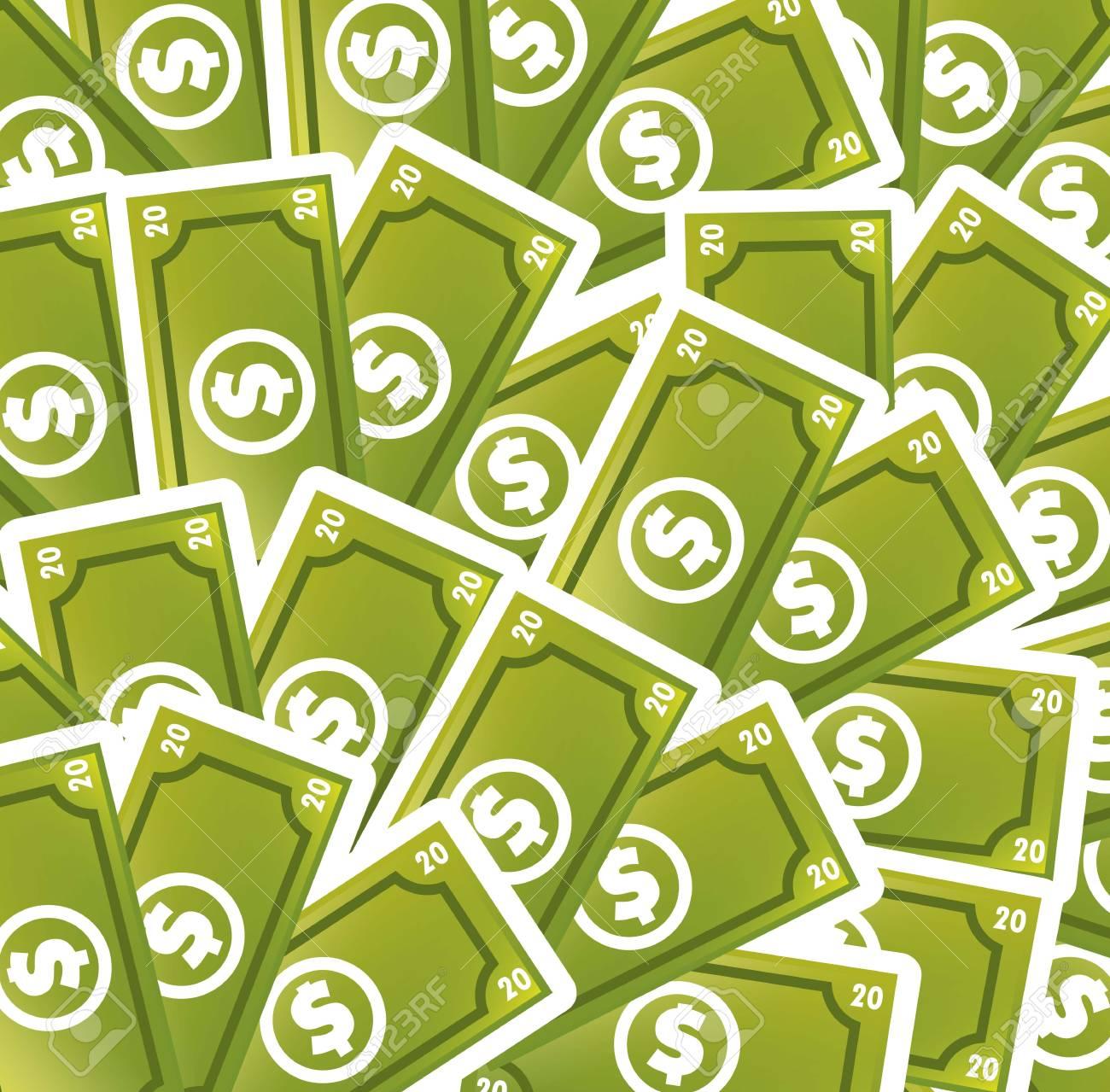 greem bills cartoon background. vector illustration Stock Vector - 17784492