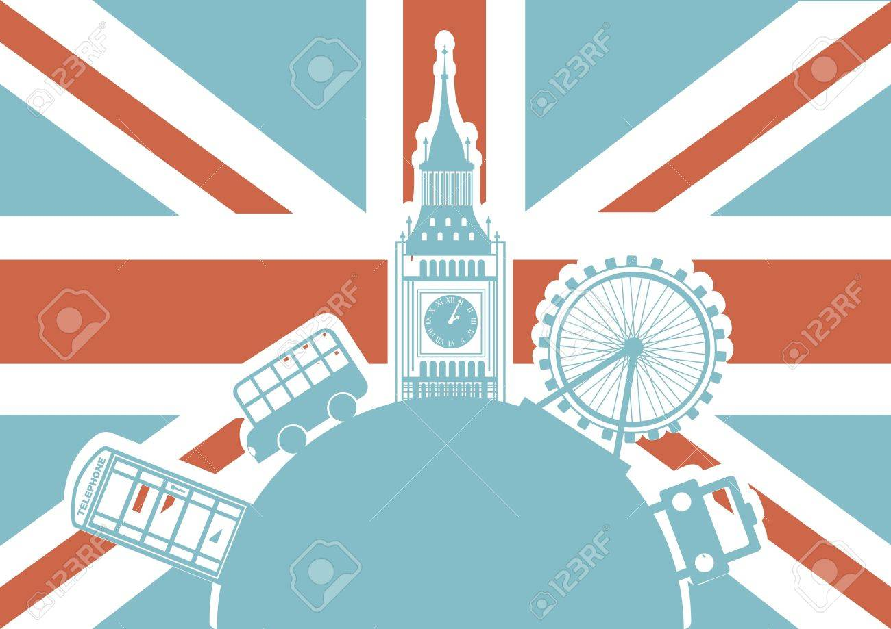 london illustration with monuments over london flag. vector Stock Vector - 17784403