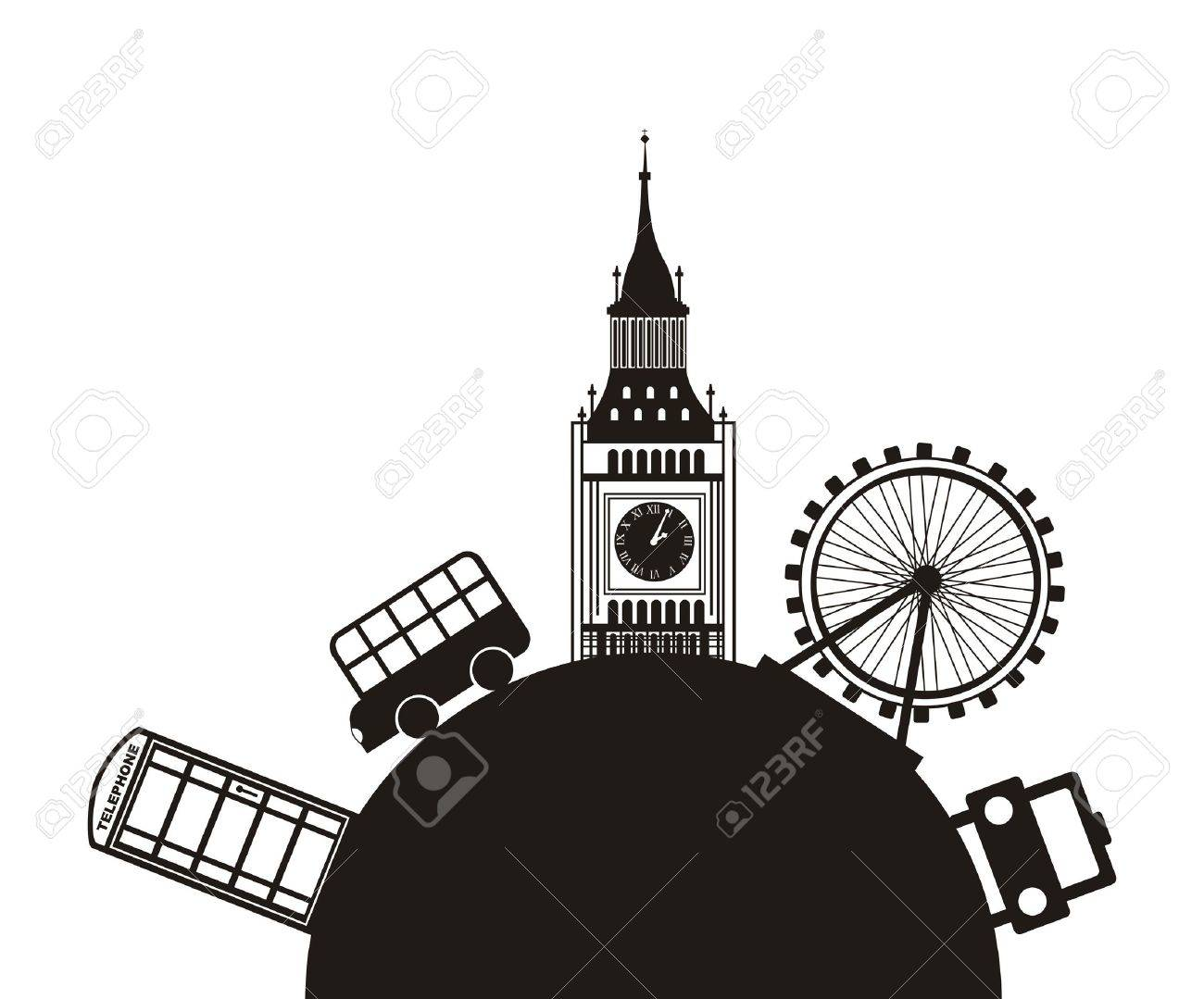 london monuments over white background. vector illutration Stock Vector - 17784425
