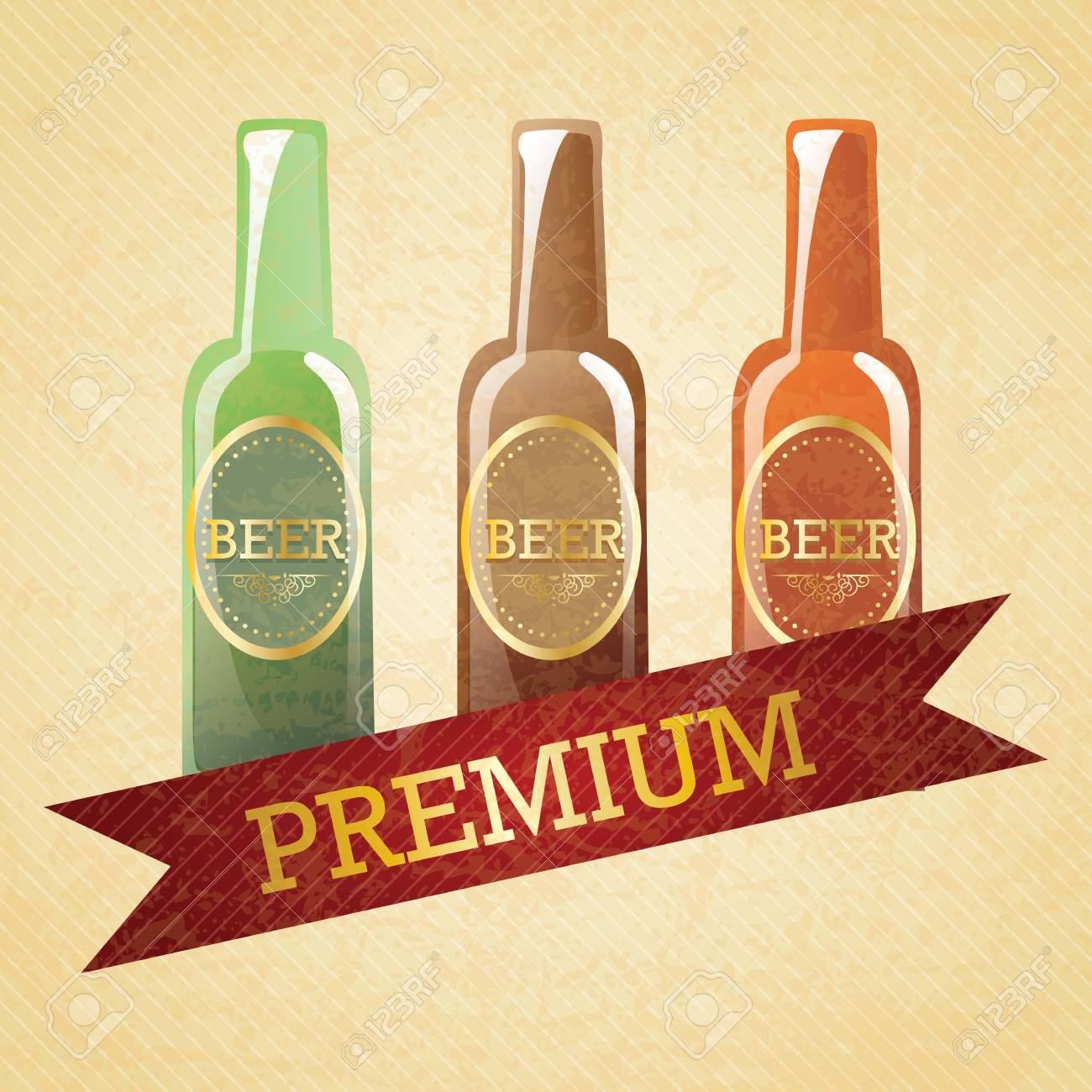 Bottles of Premium Quality Beer on vintage background. Vector illustration Stock Vector - 17868479