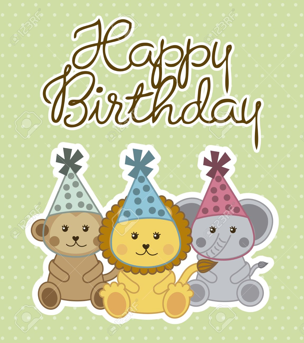 Happy Birthday Card With Cute Animals Vector Illustration – Happy Birthday Card Cute