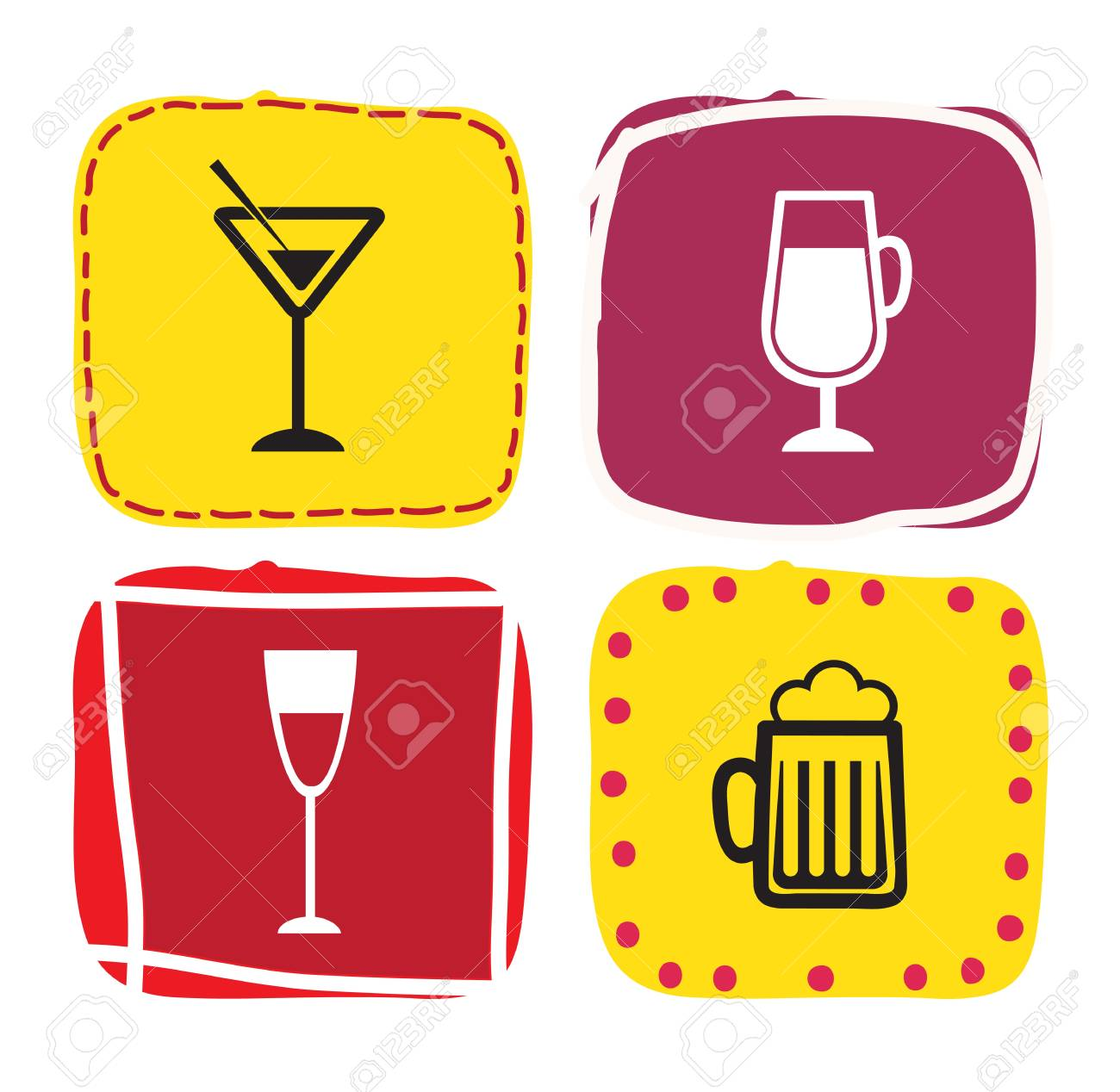 Cocktail over colors square over white background Stock Vector - 17978141
