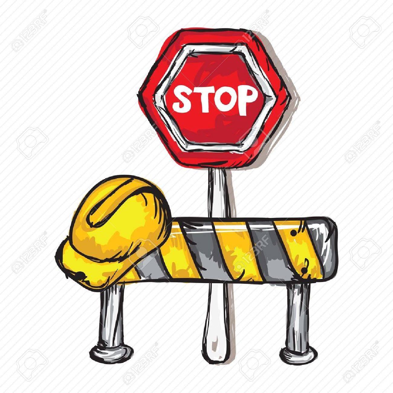 Construction Icons (Hard cap, Stop traffic sign, Vector illustration Stock Vector - 17978483