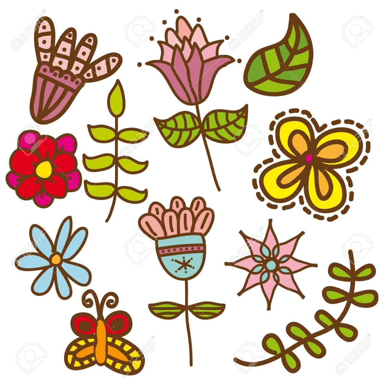 cute flowers over white background. vector illustration Stock Vector - 18073665