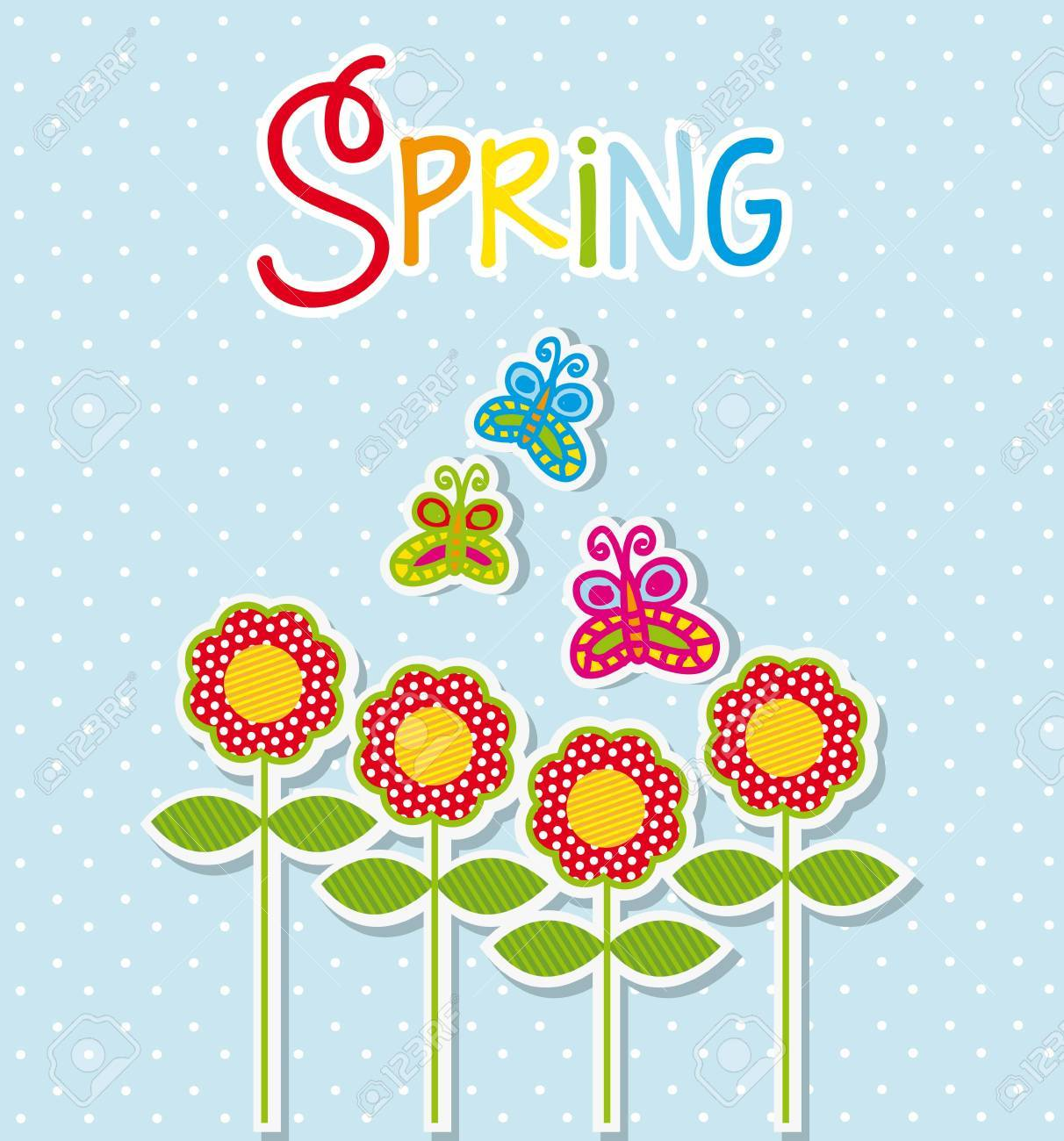 spring label with flowers and butterfly. vector illustration Stock Vector - 18073623