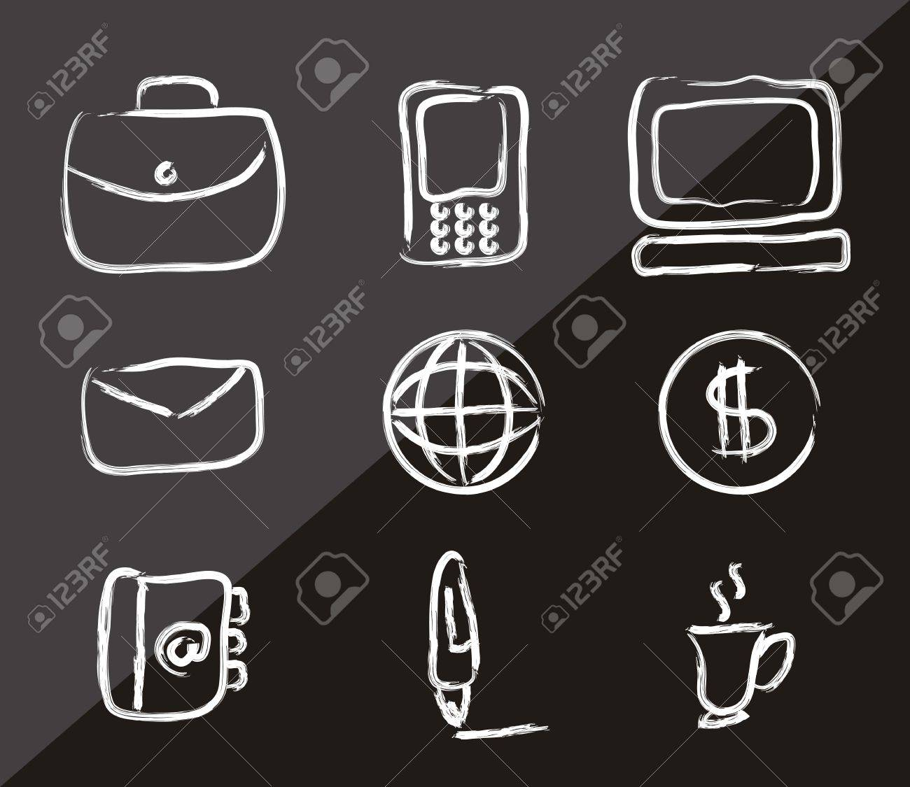 business icons over black background. vector illustration Stock Vector - 18211660