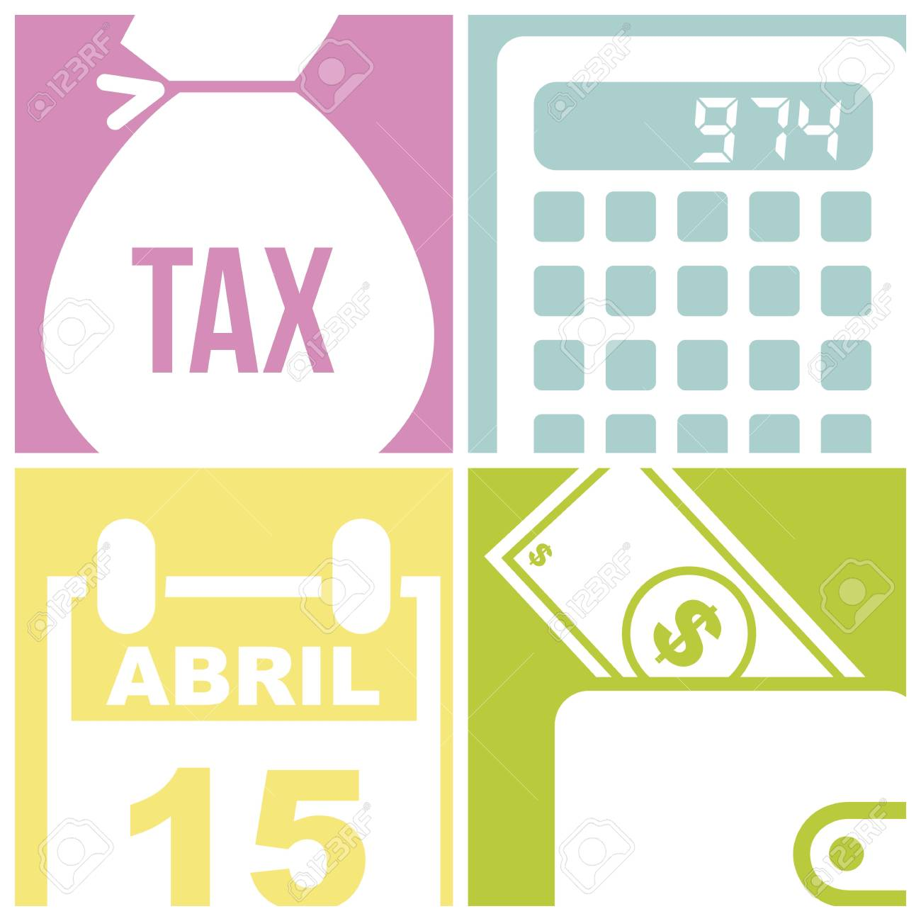 tax icons over  squares background. vector illustration Stock Vector - 18333688