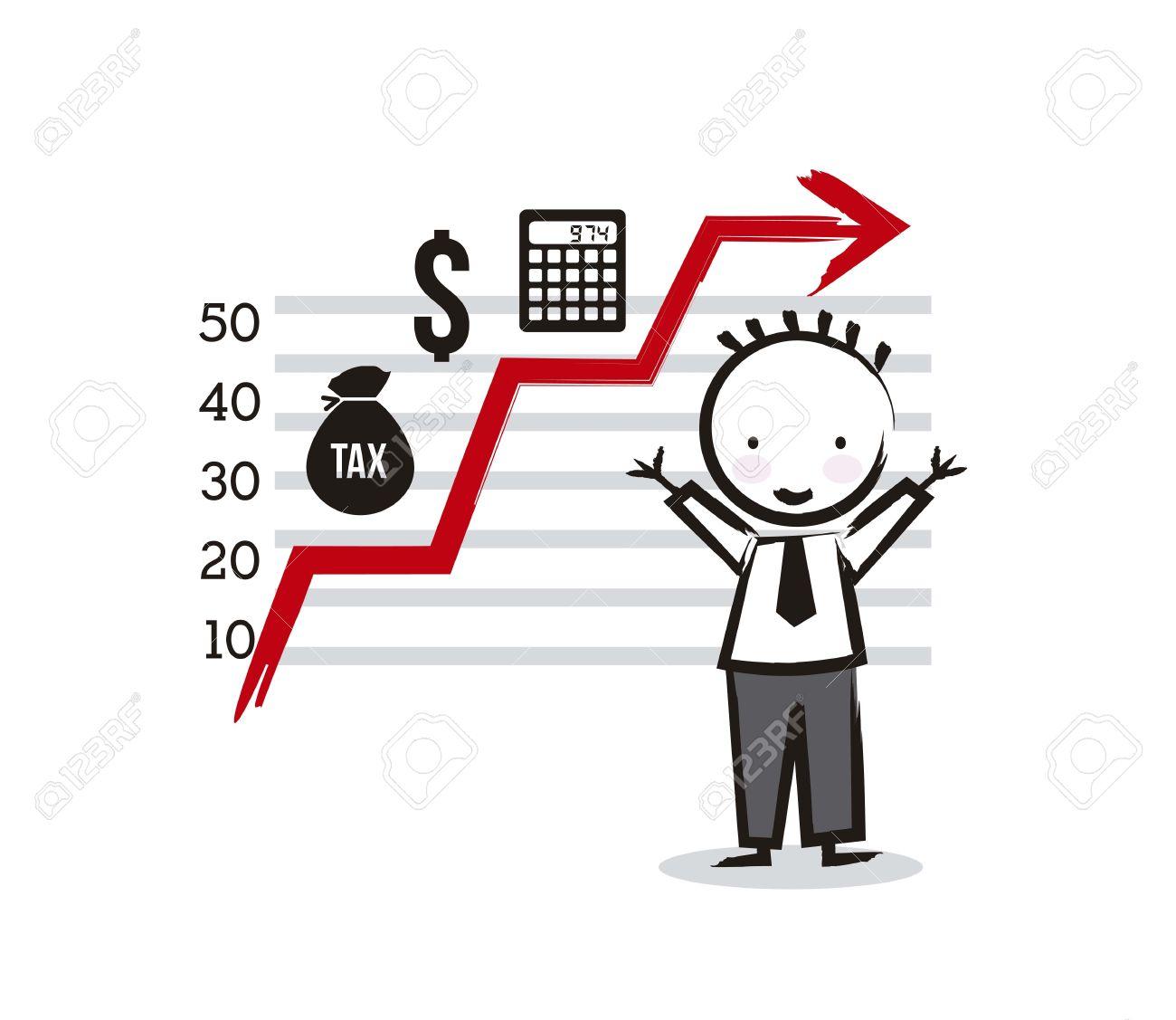 Geschäftsmann Cartoon Mit Steuern Symbole. Vektor-Illustration ...