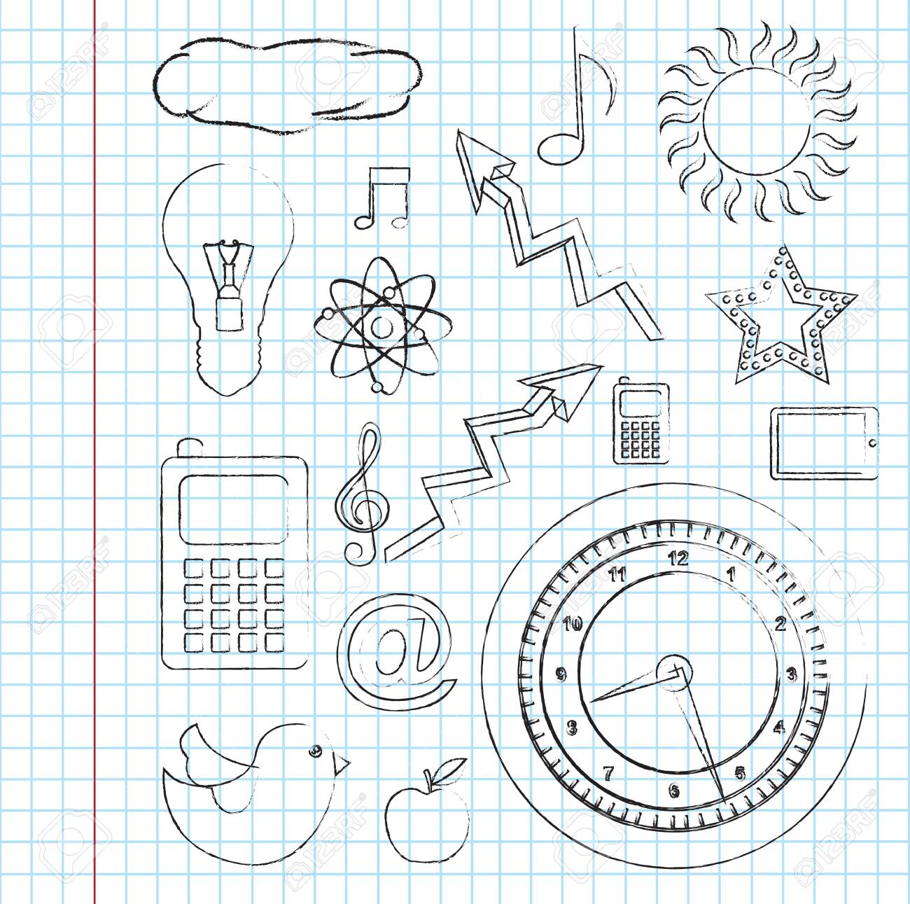different icons over paper background vector illustration Stock Vector - 18445903