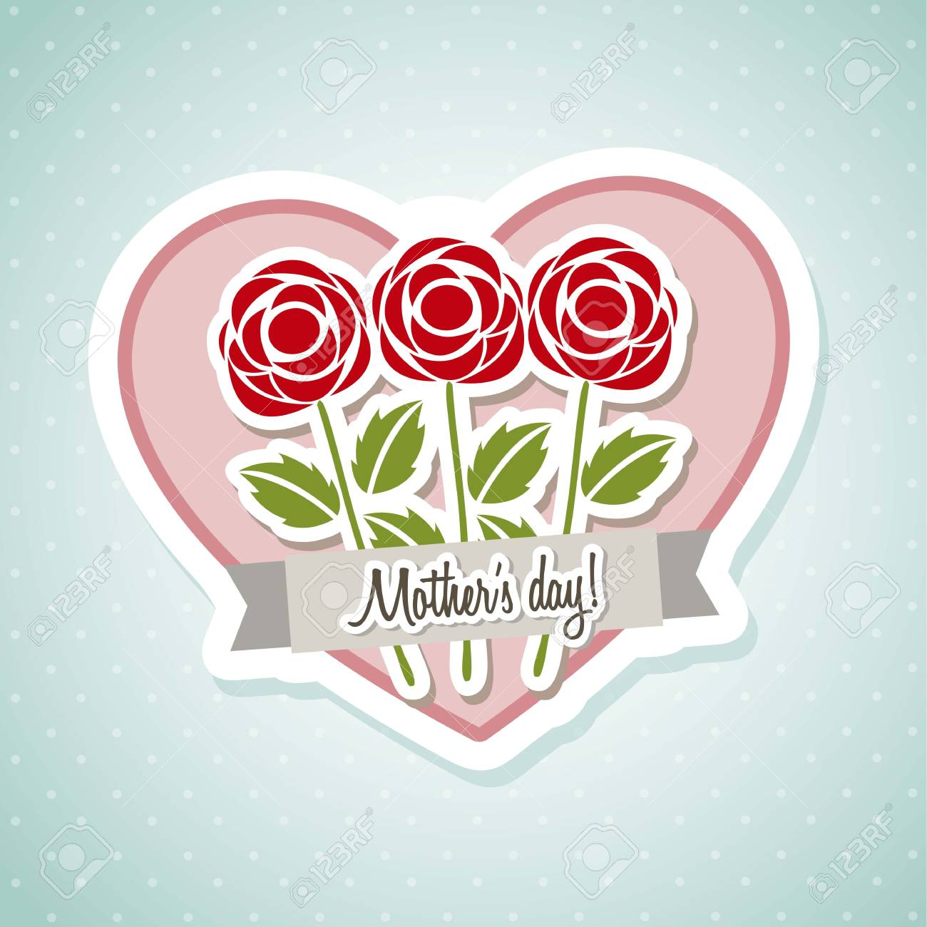 happy mothers day card with roses. illustration Stock Vector - 18555379