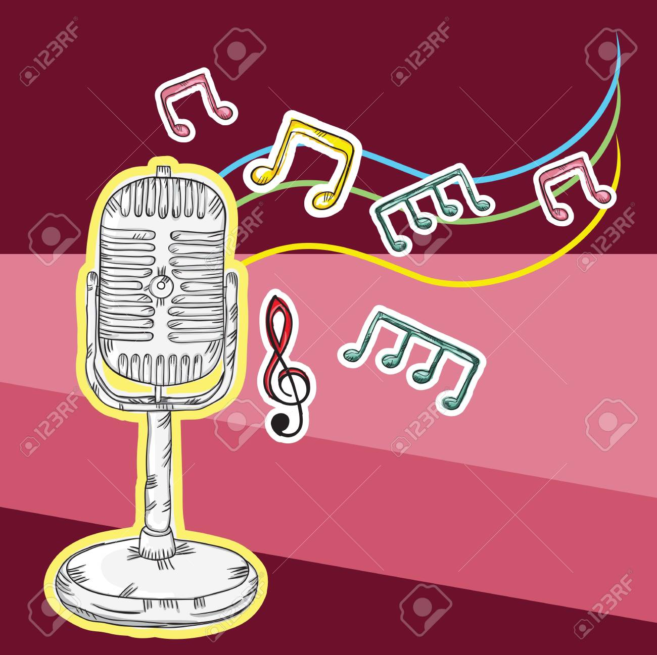 Colorful Background with musical elements Stock Vector - 18555440