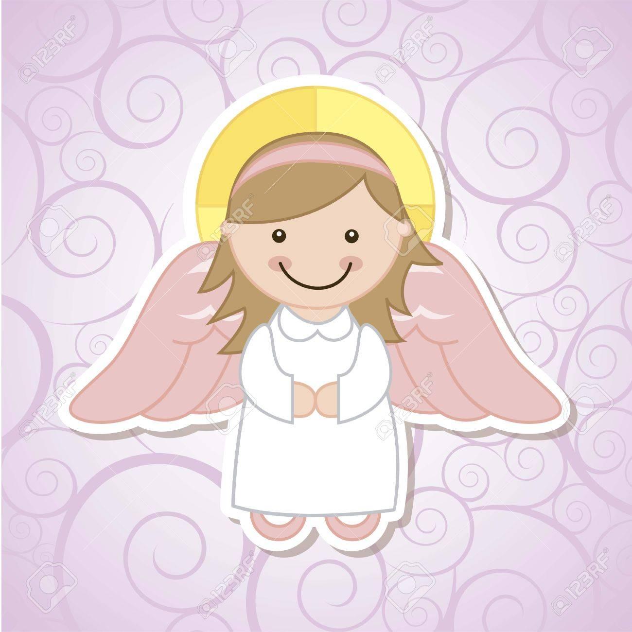 angel cartoon over violet background. vector illustration Stock Vector - 18606535
