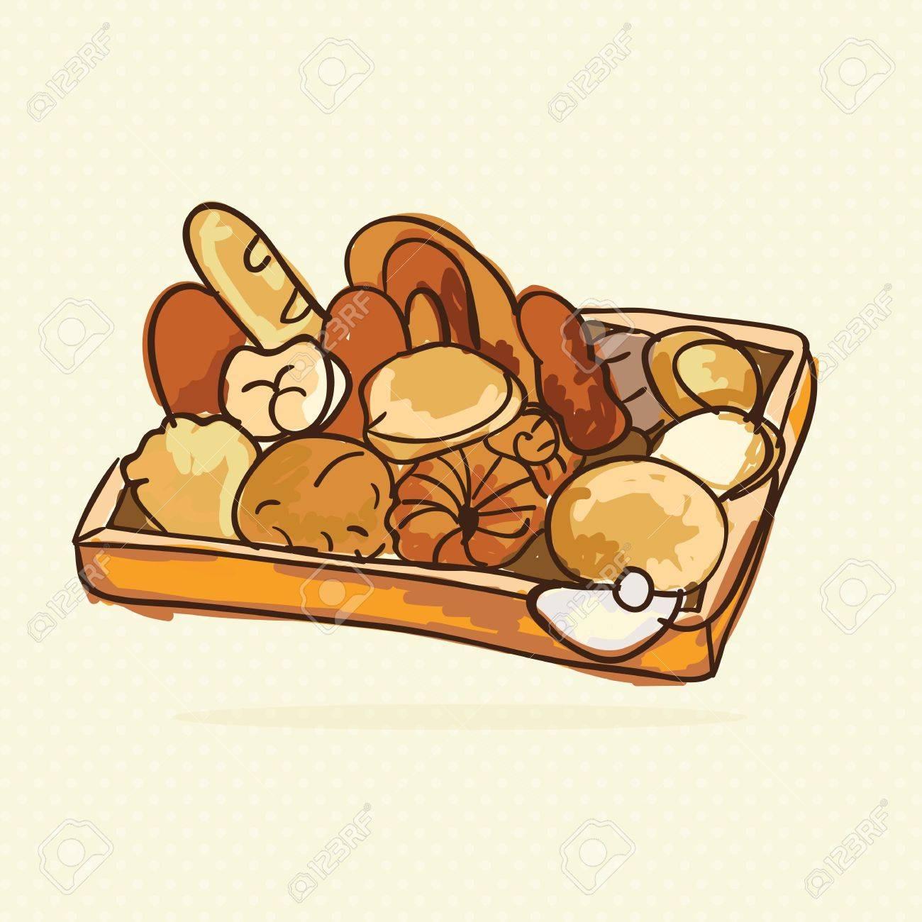 ベージュ背景 コレクション セット のアイコンをパン屋さんベクトル