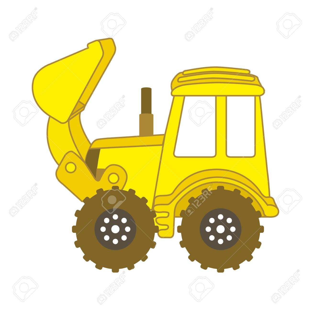 excavator cartoon over white background vector illustration