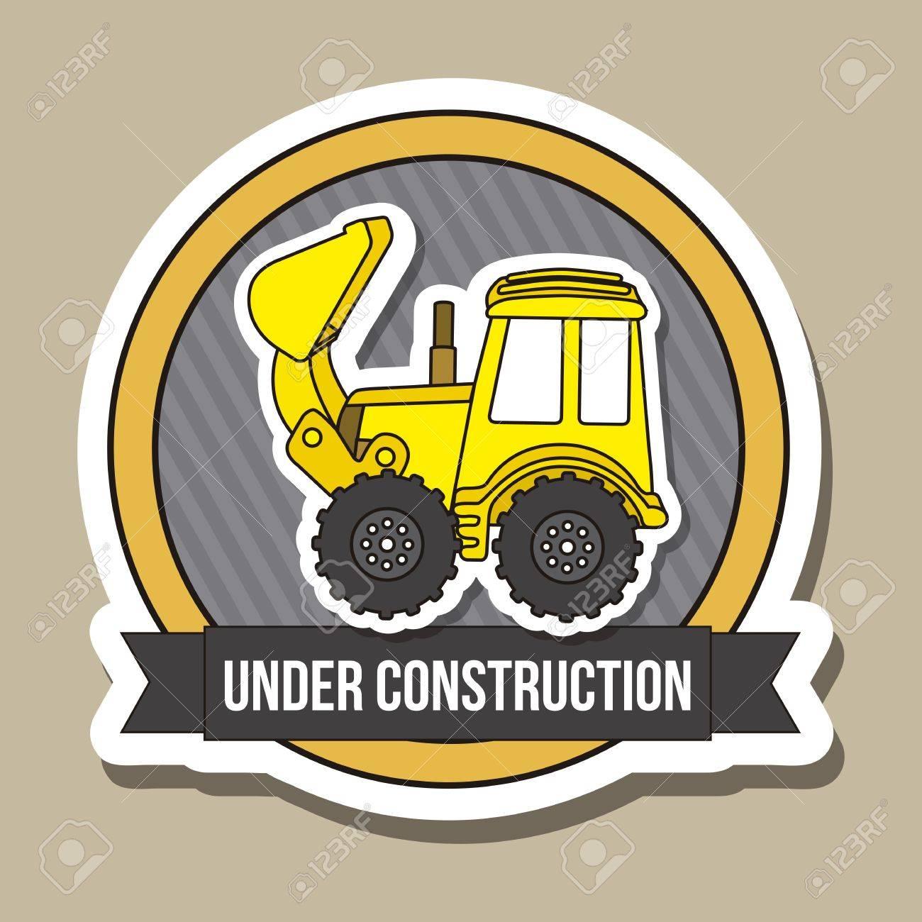 excavator cartoon over brown background. vector illustration Stock Vector - 19033621