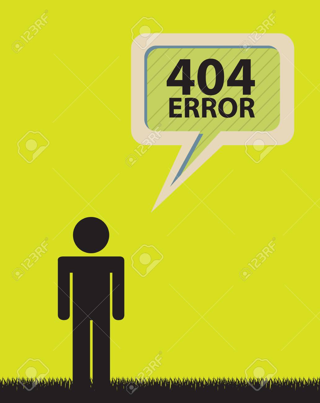 404 Error background with man over yellow illustration Stock Vector - 19305894