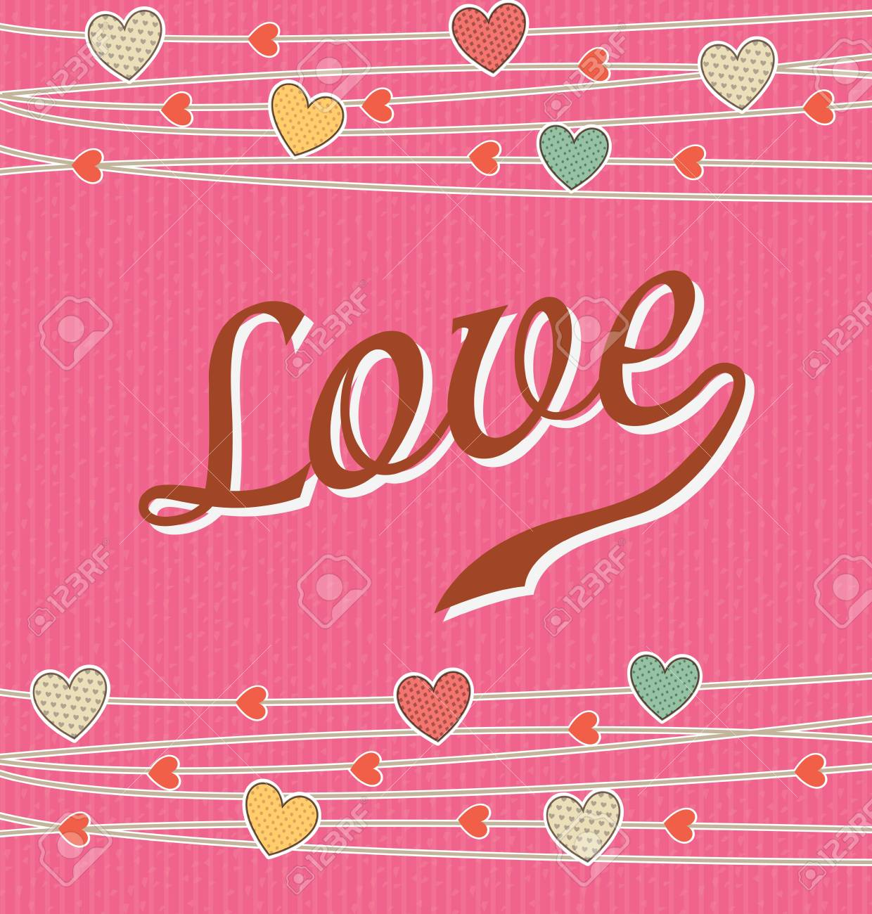 Love card over pink background illustration Stock Vector - 19307233