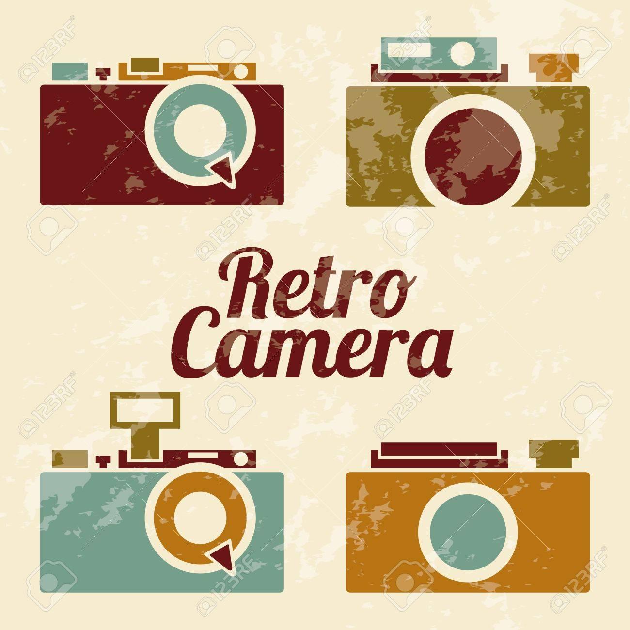 茶色の背景イラストレトロなカメラのイラスト素材ベクタ Image