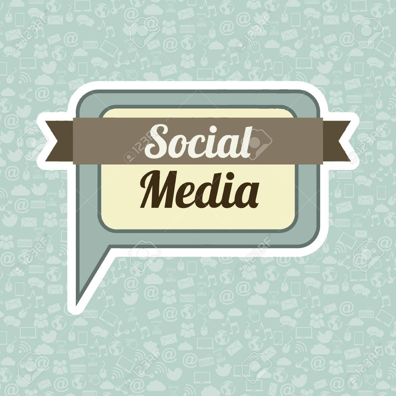 social media vintage over blue background illustration Stock Vector - 19307572
