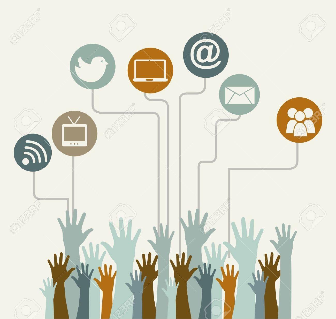 social media vintage over beige background illustration Stock Vector - 19306528