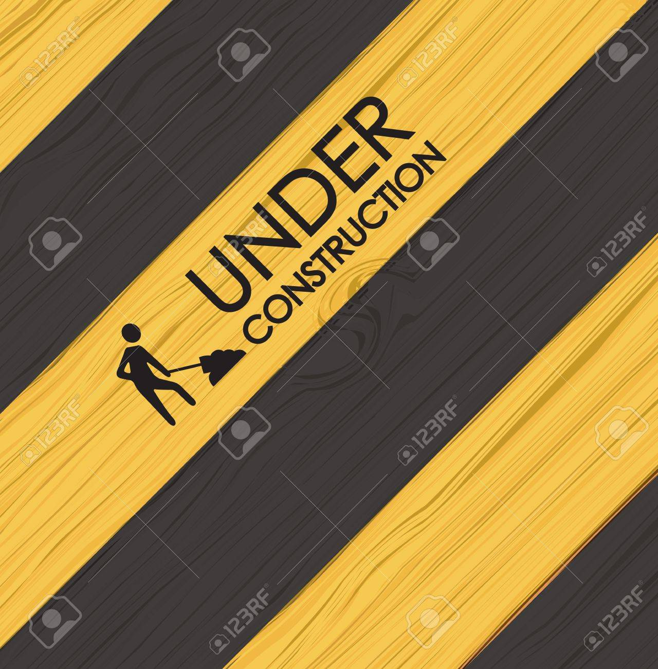 Under construction line over yellow and black background vector illustration Stock Vector - 19463252