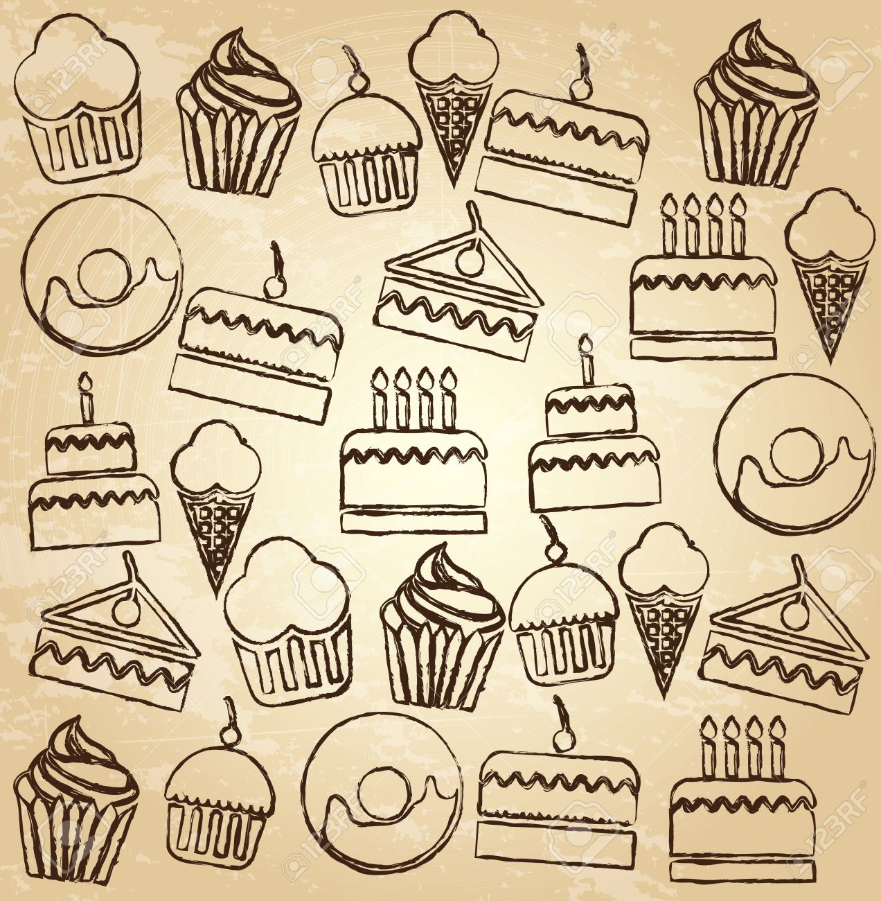Desserts icons over brown background vector illustration Stock Vector - 19463700