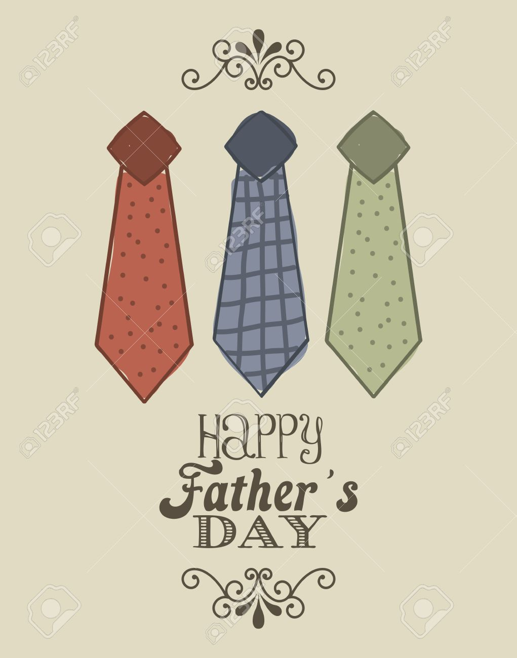 fathers day card over beige background. vector illustration Stock Vector - 19462708
