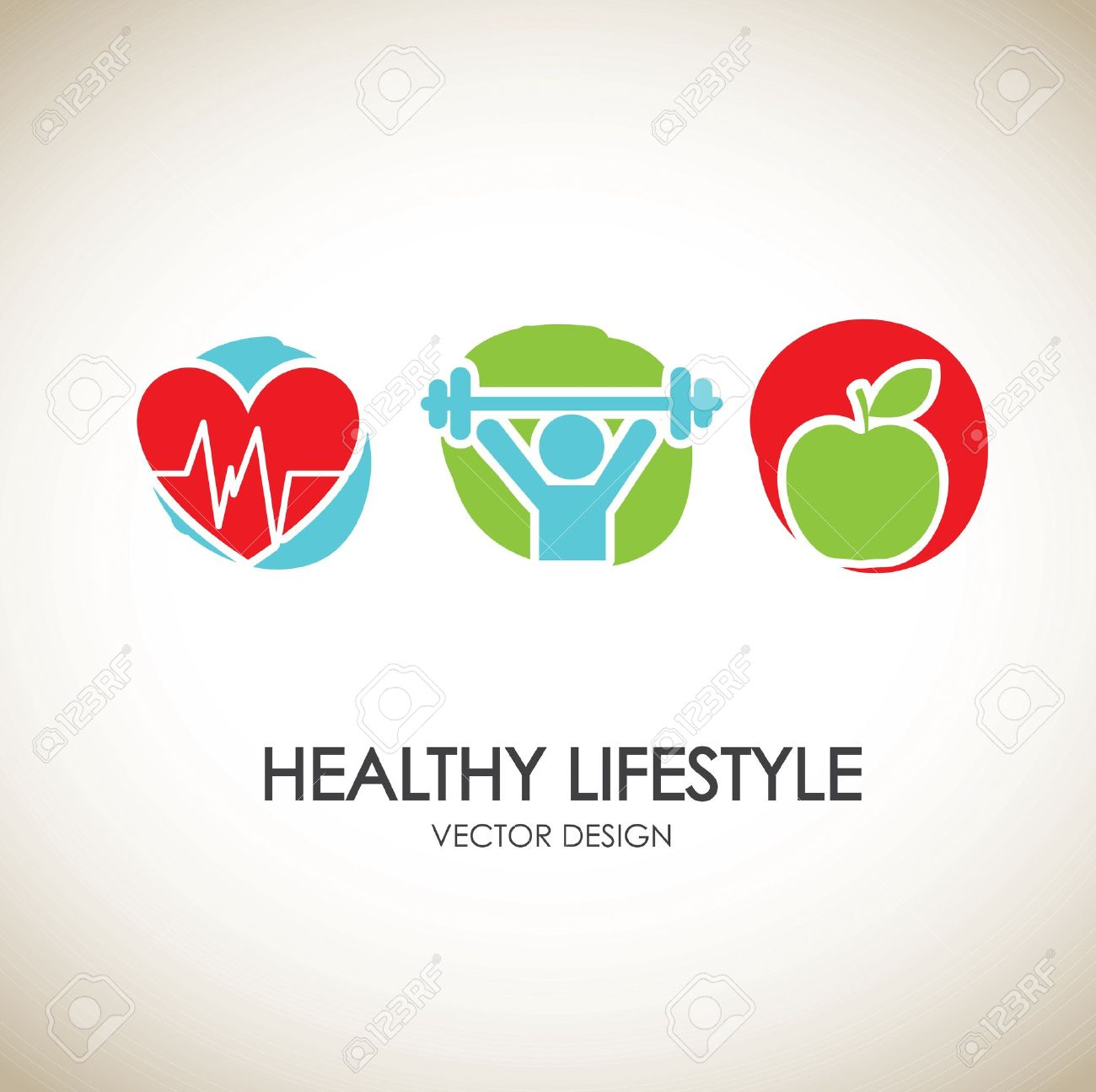 healthy lifestyle icons over vintage background vector illustration Stock Vector - 19625675