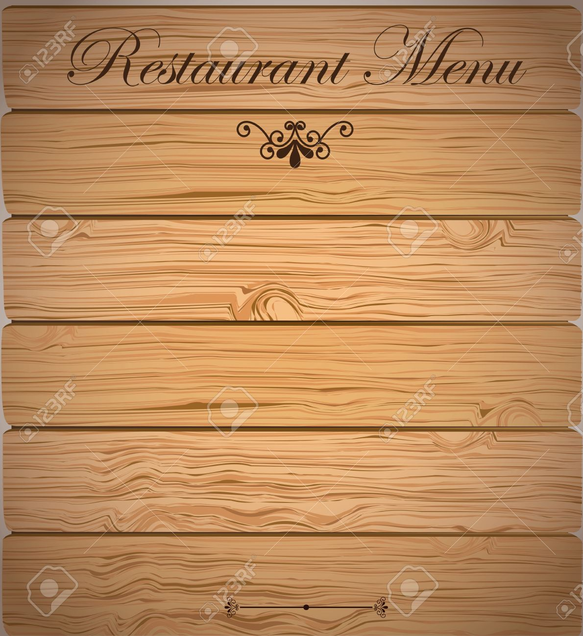 restaurant menu over wooden background vector illustration royalty