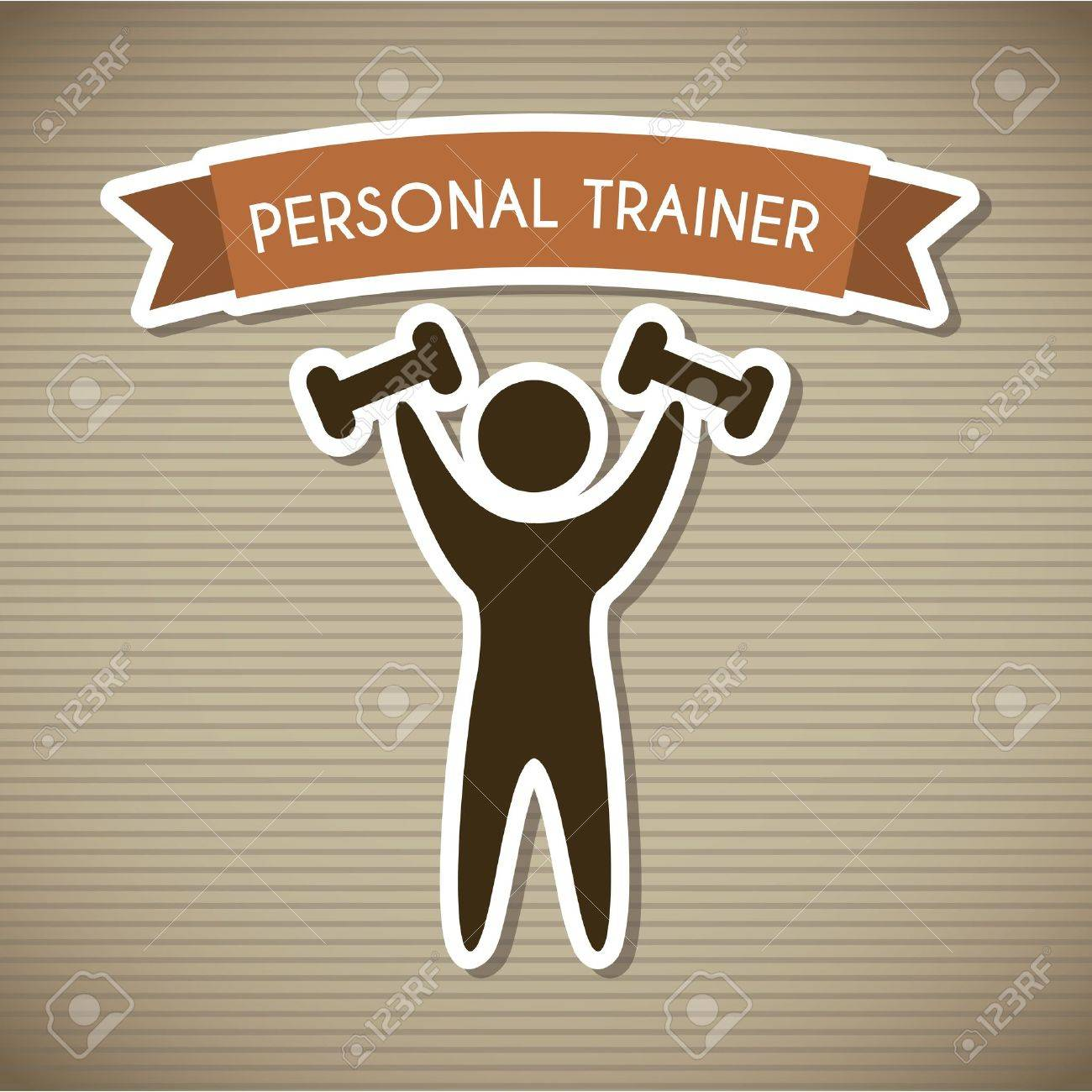 personal trainer over brown background. vector illustration Stock Vector - 19625716