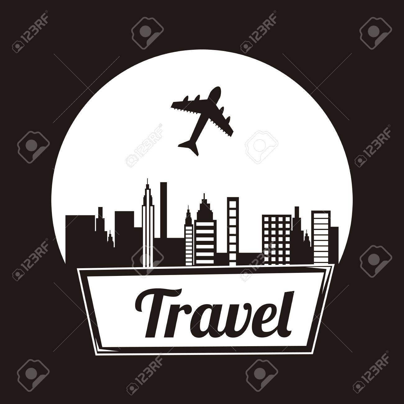 travel frame over black background illustration Stock Vector - 19674367