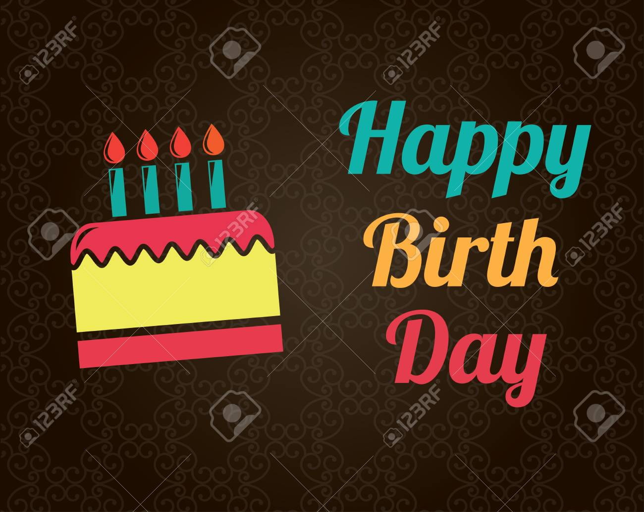 happy birthday card over brown background illustration Stock Vector - 19772459