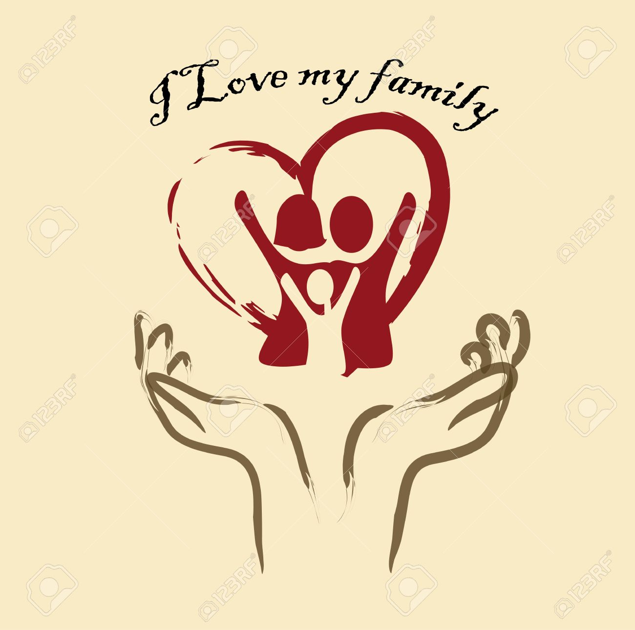 I Love My Family Over Pink Background Illustration Royalty Free