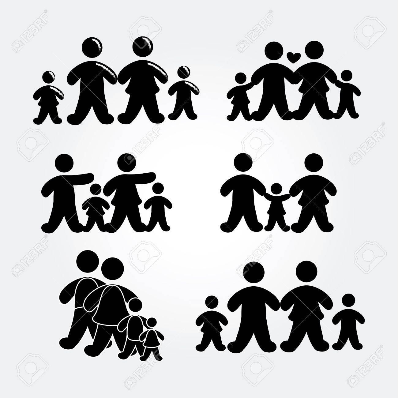 family silhouette over gray background illustration Stock Vector - 19772587
