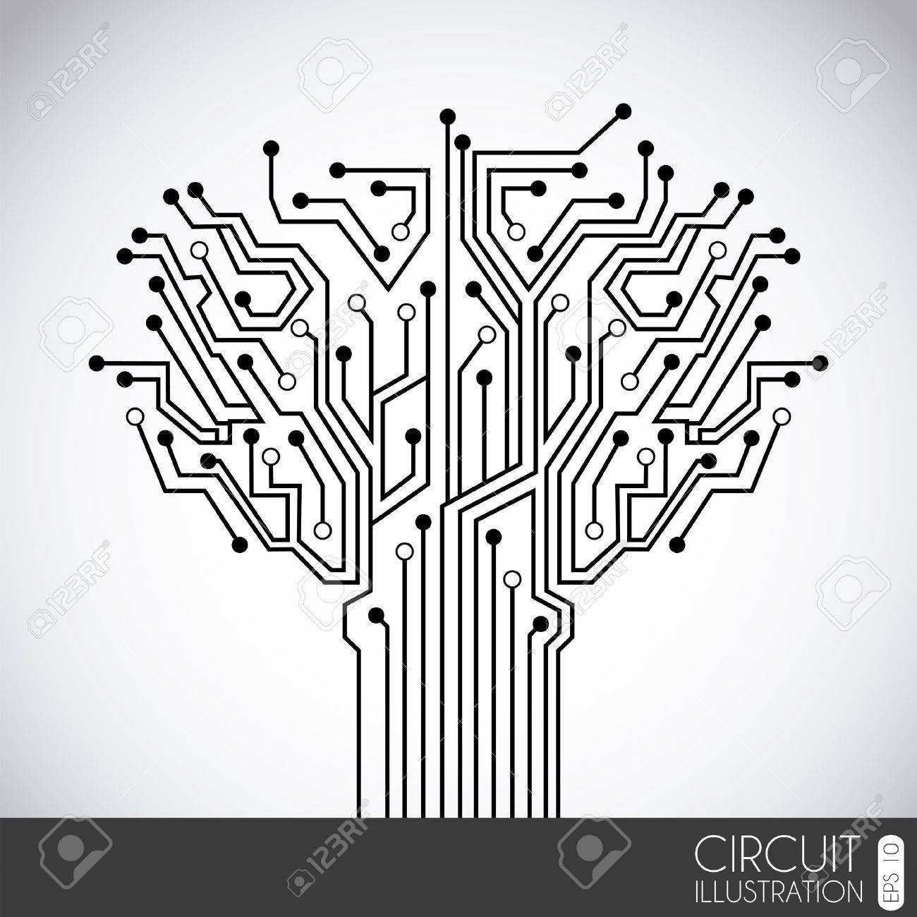 icon circuit over gray background illustration - 19772712