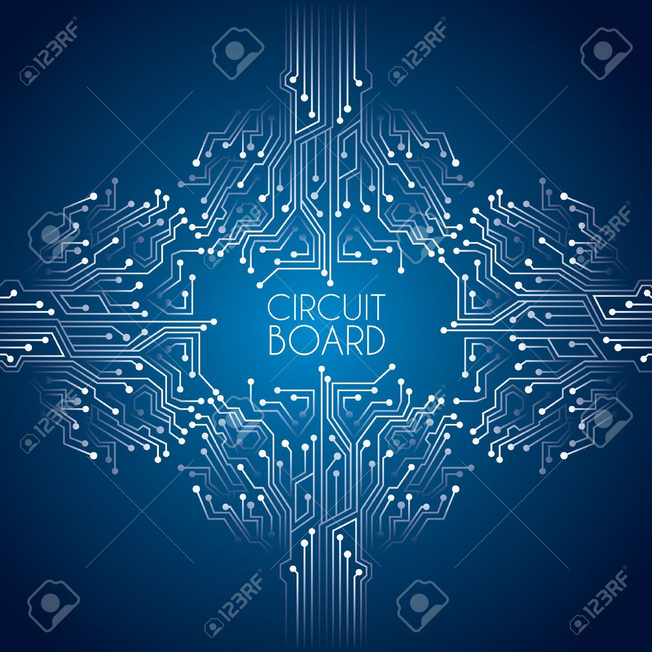 Circuit Board Over Blue Background Vector Illustration Royalty Free Design Green Imagens 19772957