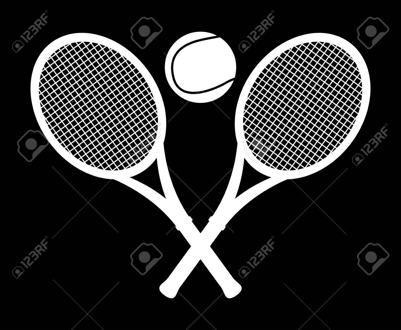 monochrome tennis design over black background illustration Stock Vector - 19772715