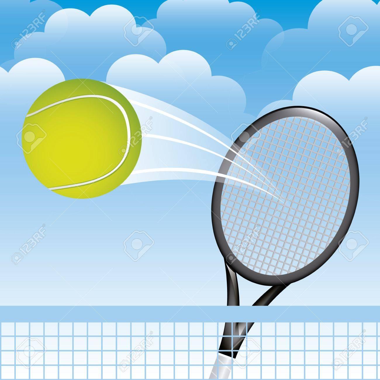 tennis landscape over sky background illustration Stock Vector - 19772948