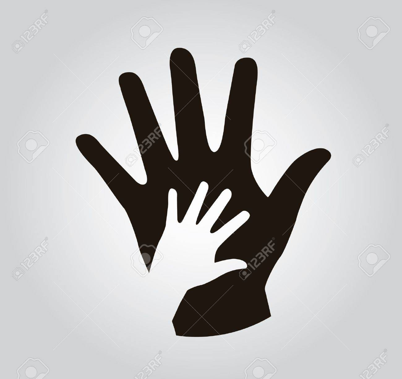 hands silhouette over gray background illustration - 19773025