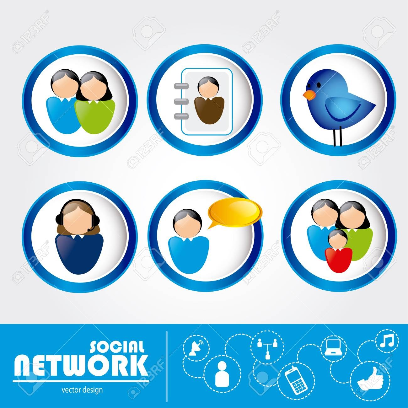 social networks over white background vector illustration Stock Vector - 19916438