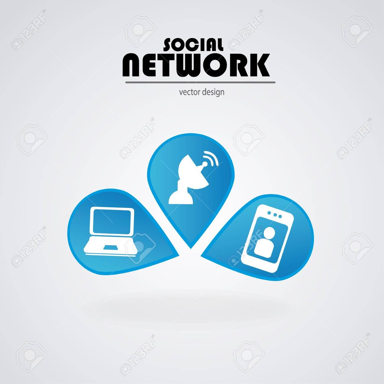 social network bulbs over blue background vector illustration Stock Vector - 19916352