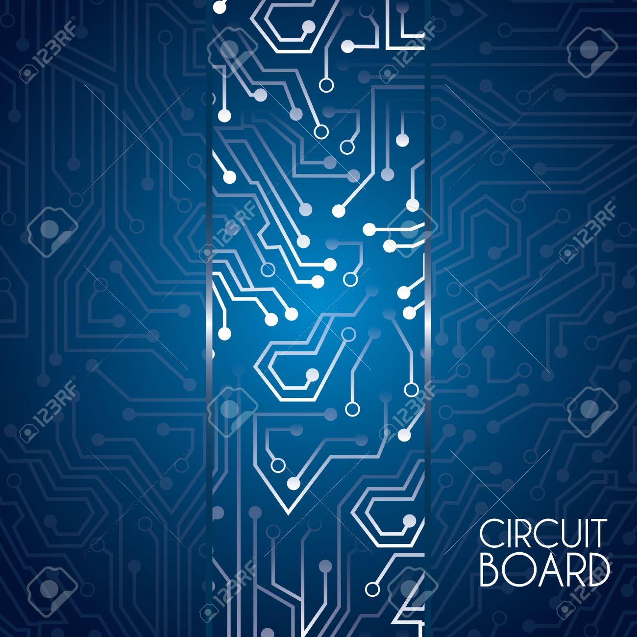 Circuit Board Design Over Blue Background Vector Illustration ...