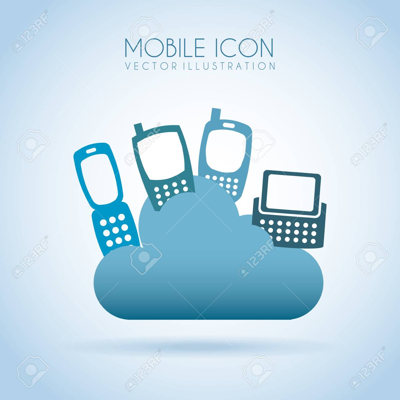 mobile icon over blue background vector illustration Stock Vector - 19979646
