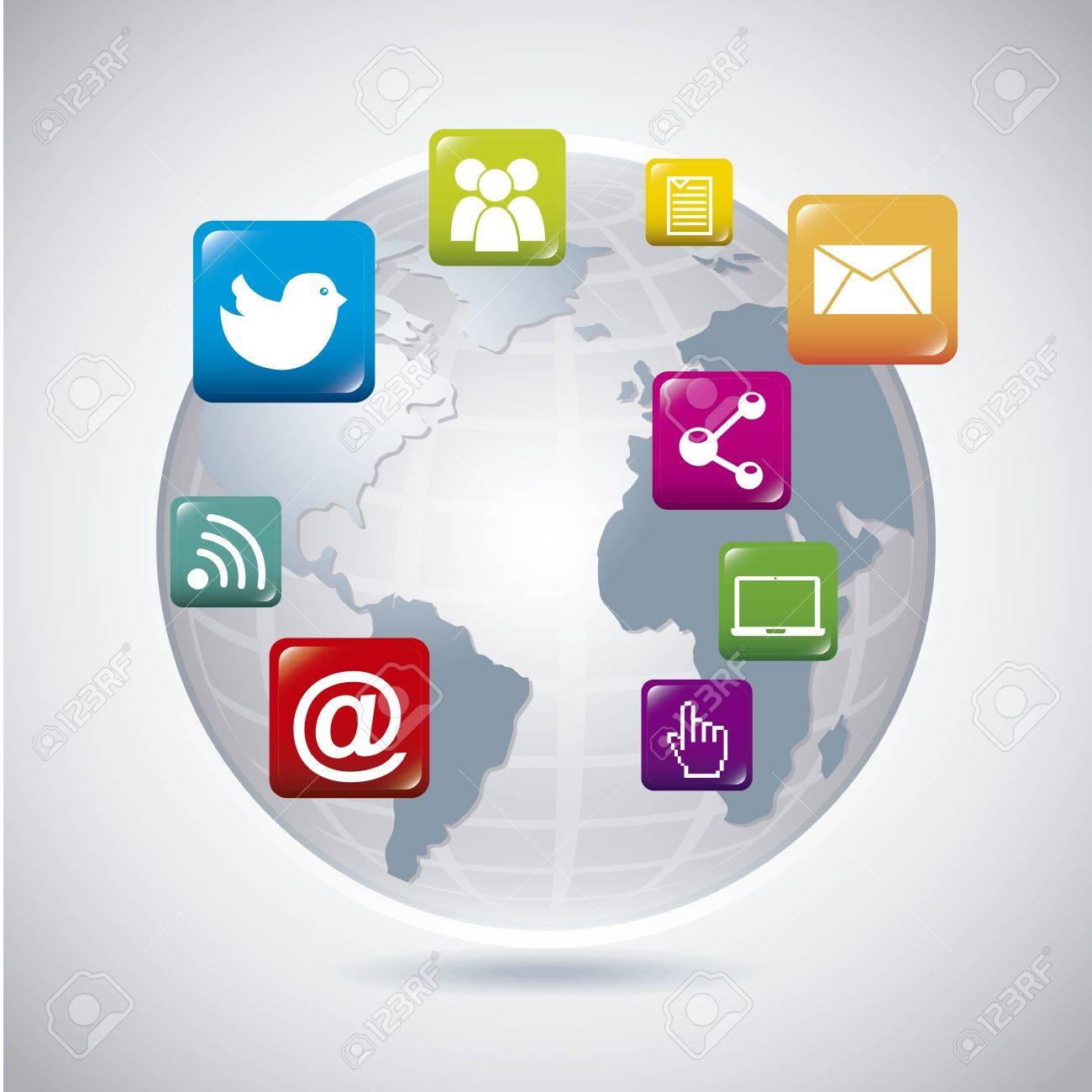 world social network over gray background vector illustration Stock Vector - 19980579