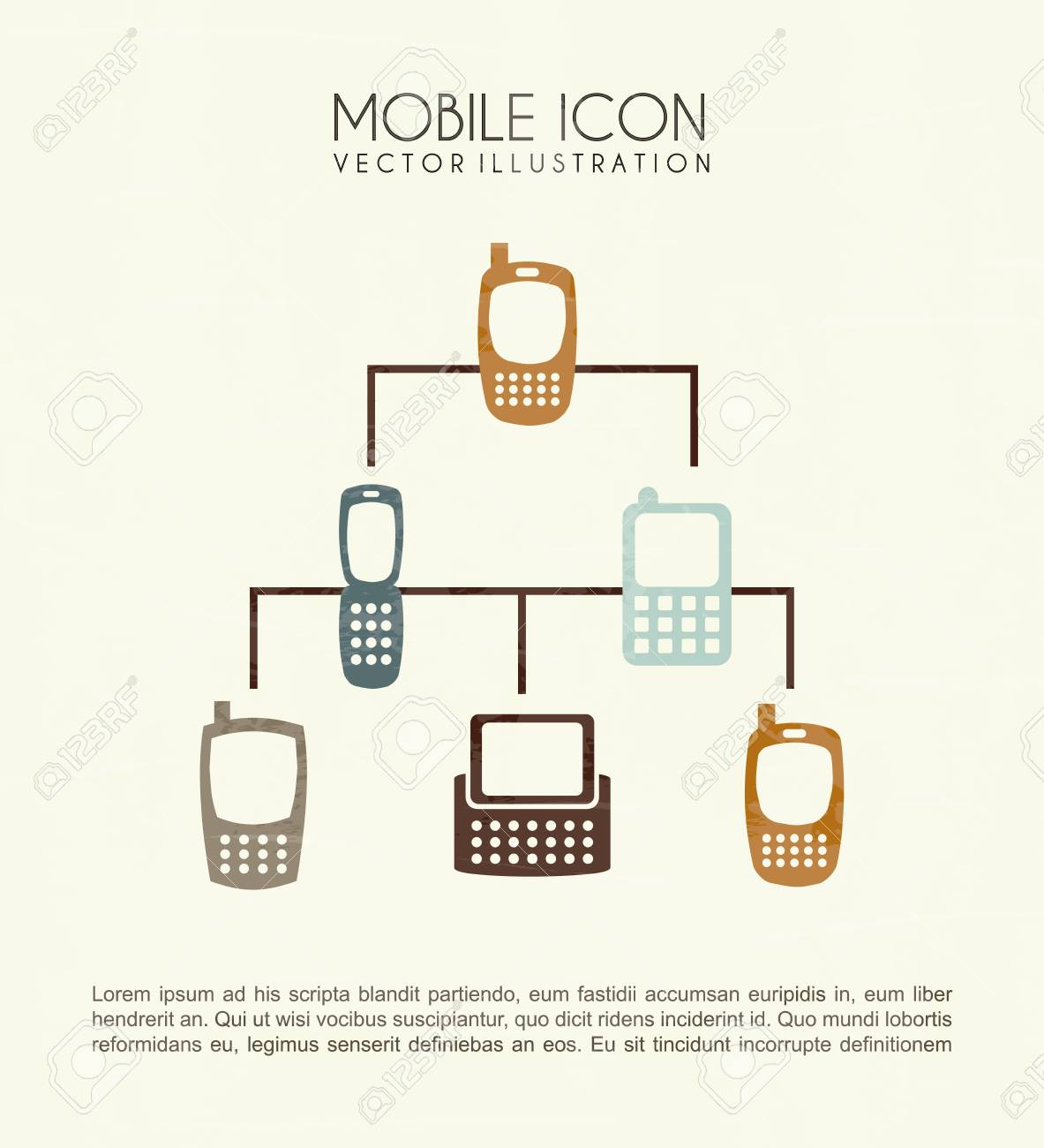 mobile icons over cream background vector illustration Stock Vector - 20040990
