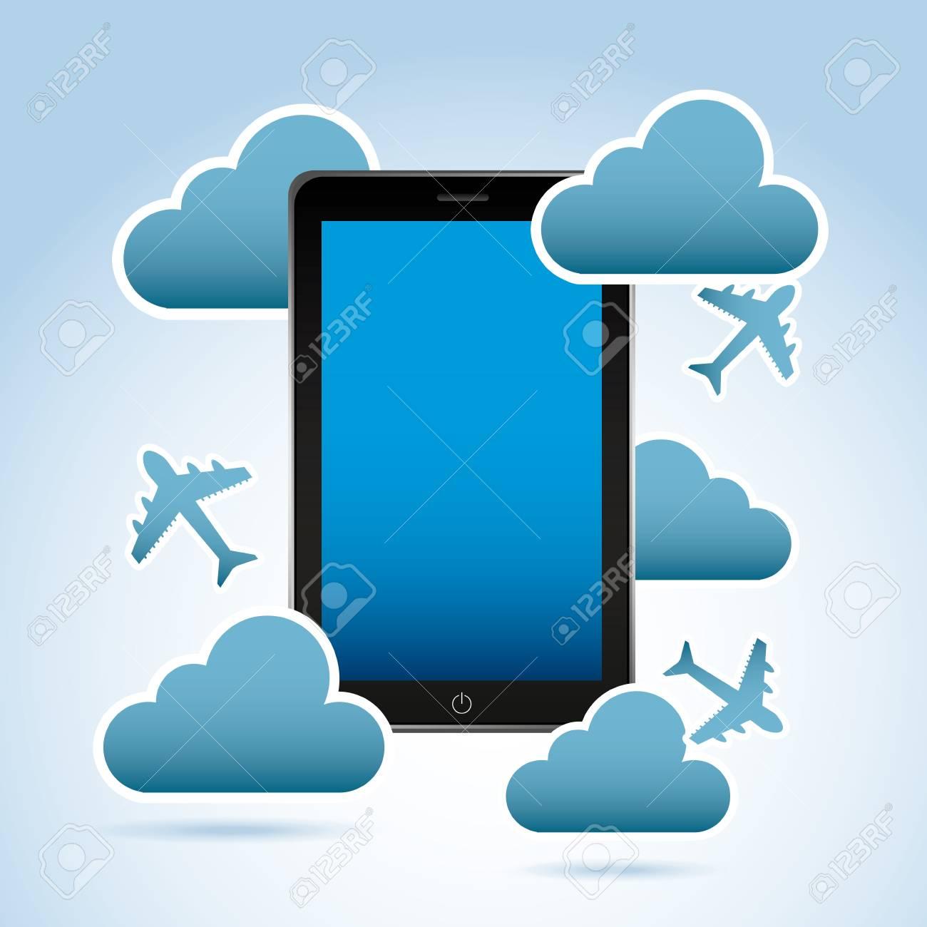smart phone   over blue light background vector illustration Stock Vector - 20040872